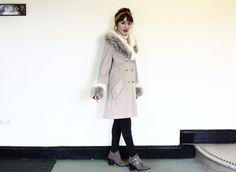 faux fur trim coat / 60s wool pea coat / blue by aLaPlageVintage