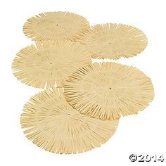 Add a taste of the tropics to your luau party table! These round, fringed, raffia place mats are the perfect accent to your luau or summer party decorations. The Round Luau Fringe Place Mats measure (hawaiian luau party decorations) Luau Centerpieces, Luau Theme Party, Hawaiian Party Decorations, Hawaiian Luau Party, Moana Birthday Party, Luau Birthday, Tiki Party, Festa Party, Beach Party