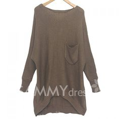 looks super comfy! $12.67 Casual Scoop Neck High-Low Hem Batwing Long Sleeve Sweater For Women