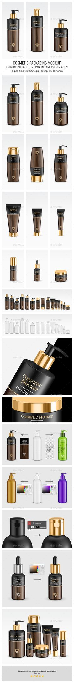 Gold Cosmetic Packaging #Mock-up - Beauty #Packaging Download here: https://graphicriver.net/item/gold-cosmetic-packaging-mockup/19623673?ref=alena994