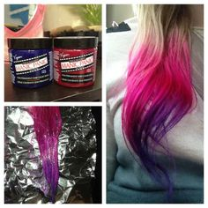 DIY pink, purple, blonde ombre (dip dye) hair with Manic Panic After Midnight and Hot Hot Pink! So easy to do. :)
