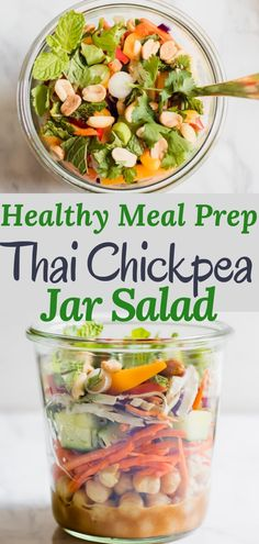 Healthy Thai Chickpea Jar Salad is the perfect meal prep lunch, this recipe makes 4 days of crazy town delicious protein-rich lunches! Creamy spicy peanut butter dressing with chickpeas, crunchy vegetables, cilantro, and salted peanuts. Gluten Free Recipes For Lunch, Vegetarian Breakfast Recipes, Vegetarian Salad, Lunch Recipes, Summer Recipes, Savory Salads, Easy Salads, Lunch Meal Prep, Healthy Meal Prep