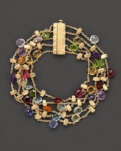 "Marco Bicego ""Paradise Collection"" Five Strand Gold Bracelet. http://www.annabelchaffer.com/categories/Designer-Jewelery/"
