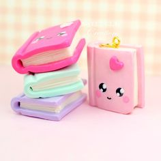 Mini Kawaii Book Charm Polymer Clay Handmade Jewelry by Sweet Clay Creations