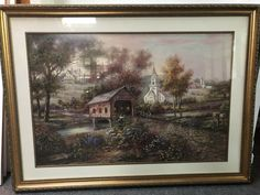 Carl Valente painting with signature, Razzberry Creek Crossing Wood Picture Frames, Picture On Wood, Vintage Landscape, Art Deco Home, Sunset Landscape, Floral Prints, Art Prints, Popular Art, Gold Wood