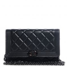 CHANEL Lambskin Quilted Boy Wallet On Chain