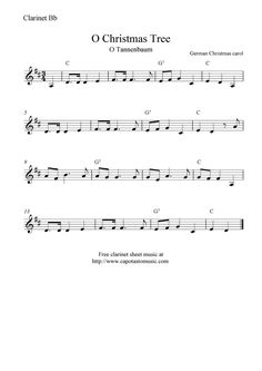 Free Sheet Music Scores: O Christmas Tree (O Tannenbaum), free Christmas clarinet sheet music notes