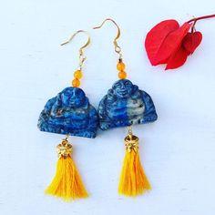 Happy Buddha sodalite & tassel earrings
