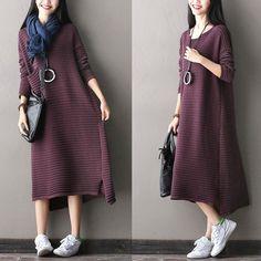 Purple/Green Big Pocket Sweater Dress Women Tops Q1905A