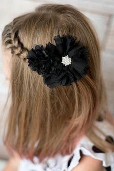 Black flower clip, black flower hair clip, girl birthday gift, wedding flower girl, black hair accessory, hair barrette, flower hair piece. La Bella Rose Boutique