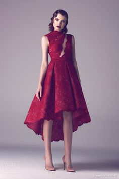Guest Dress - fadwa baalbaki spring 2015 couture sleeveless red lace dress asymmetric skirt