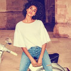 H&M Top with Flounced Sleeves and Embroidered Denim