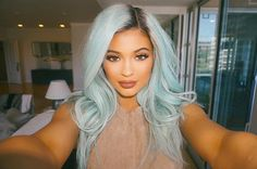 We're loving Kylie Jenner's ice blue hair! #hair #bluehair #hairtrends