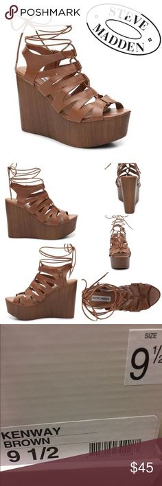 """BNWT Steve Madden Wedges Brand new with tags - Steve Madden Kenway Wedges Lace up in a cute wedge sandal that is sure to wow! With ghillie laces, the Kenway platform sandals are perfect to jump start your warm weather wardrobe! Inside zipper for easy on/off. Approx. 2"""" platform, 4.75"""" wooden wedge Color: Brown Sizes Available: 9.5 Retail Price $110  Check out my closet for over 200 NWT Retail Items - Free People, Wildfox, & many more! All prices are negotiable. Make me an offer:) Steve…"""