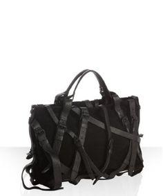'kirsten' black suede leather buckle satchel alexander wang bluefly