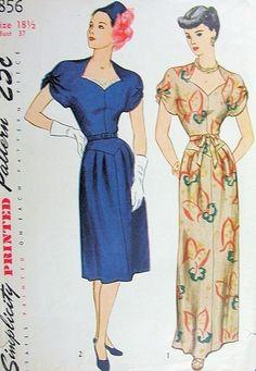 2c670ae2131 1940s EVENING DRESS PATTERN INTERESTING NECKLINE