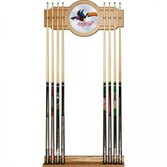 Arthur Guinness Officially Licensed High-End Furniture 2 Piece Oak 8 Cue Rack #Guinness
