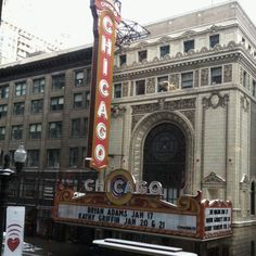 View of Chicago Theatre from Gene Siskel Theatre across State Street. Chicago Theatre (when I lived there) was a fabulous example of the old theatres. Grand in every way.