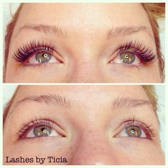 Our Volume Lash student now easily fills gaps in  natural lashes with 3D extensions #volumelashes #lashesbyticia #lashbeauty #lashextensions #eyelashextensions