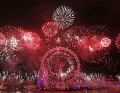 Fireworks fill the sky around the London Eye, welcoming in 2013.