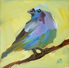 indigo bunting | angela moulton's painting a day Canvas And Cocktails, Painting & Drawing, Finger Painting, Art Plastique, Painting Inspiration, Cute Art, Art Drawings, Art Photography, Original Paintings