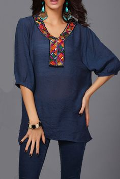 9a7637c3f1448 3 4 Sleeve V Neck Beaded Casual Plus Size T-Shirt  shirt