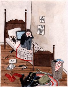"""""""Prue in Bed Study"""" original illustration from Wildwood written by Colin Meloy and illustrated by Carson Ellis Simple Illustration, Children's Book Illustration, Wildwood Book, Carson Ellis, Cute Pastel Wallpaper, Kids Sleep, Illustrations And Posters, Cartoon Styles, Light In The Dark"""