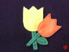 Broche tulipanes hecho a mano con fieltro :)