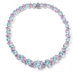 Necklace in aquamarine, pink and blue sapphires by Oscar Heyman.