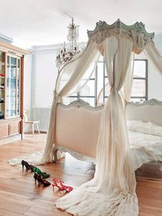A dreamy French bedroom - this bed, oh this bed!