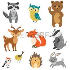 Set Of Cute Woodland Animals Isolated On White Background. Royalty Free Cliparts, Vectors, And Stock Illustration. Image 39891108.