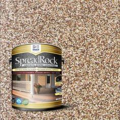 Get a beauty to your living space by applying this SpreadRock Granite Stone Coating Brownstone Satin Interior or Exterior Concrete Resurfacer and Sealer. Concrete Floor Coatings, Concrete Resurfacing, Concrete Bricks, Concrete Stone, Granite Stone, Painted Concrete Steps, Paint For Concrete, Concrete Refinishing, Driveway Resurfacing