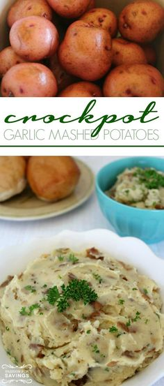 Crockpot Garlic Mashed Potatoes! Easy Side Dish Recipe and Slow Cooker Recipe!
