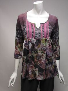 One World 3/4 Sleeve BOHO Violet Floral Top Shirt NWT Sz S, M, L , XL #OneWorld #KnitTop #Many