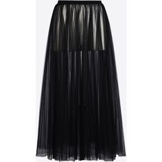 Valentino Long Skirt In Plissé Tulle ($2,445) ❤ liked on Polyvore featuring skirts, black, layered ruffle skirt, layered skirt, floor length tulle skirt, tall maxi skirt and layered maxi skirt