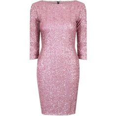 **Alice & You Dusty Pink Sequin Bodycon Dress ($35) ❤ liked on Polyvore featuring dresses, pink, sleeve cocktail dress, pink dress, pink body con dress, zipper back dress and bodycon cocktail dress