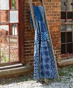 Quilted Patchwork Vintage Kantha Throw in Indigo - Throw Blankets - Shop Nectar…