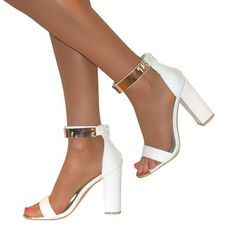 c4b0c0362e5 Perfect Me WOMENS GOLD ANKLE CUFF PEEP TOE HIGH BLOCK HEELS STRAPPY SANDALS  SHOES PROM SIZE  Amazon.co.uk  Shoes   Bags