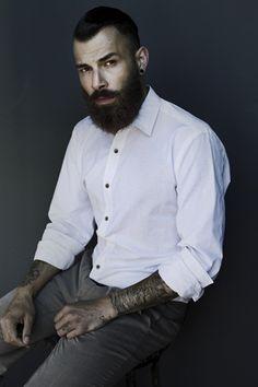 Stefan van der Elst - full thick dark beard and mustache beards bearded man men mens' style tattoos tattooed model hair hairstyle undercut handsome #sharpdressedman #goodhair