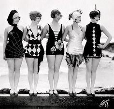 """Mack Sennett bathing beauties as """"sirens of the sea."""" c. 1920s Left to right, featured are Connie Dawn, Betty Byrd, Thelma Parr, Nancy Hellman, Marion MacDonald."""