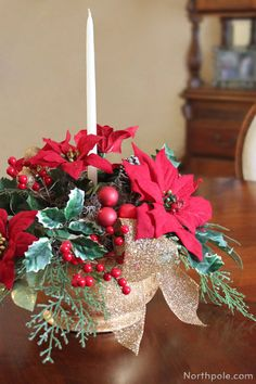 Christmas Table Centerpiece  Simple but elegant.