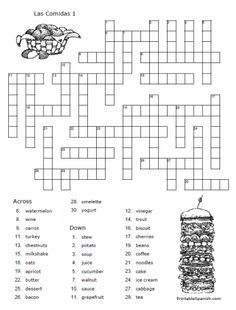 FREE Spanish crossword puzzle w/answer key from