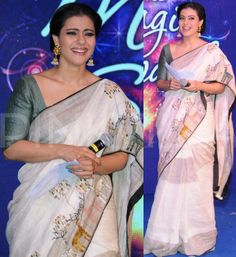April, 14: Kajol at Unilever event in Goa in Bihari #Handloom Khatwa #Saree wi/ applique work by designer Anavila Sindhu Misra https://www.facebook.com/pages/Anavila/216800401678024 mid-parted hair& jhumkas completed her ethnic look