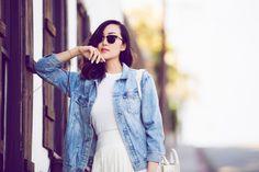@chrisellelim | all fringe + denim #fashion | Wearing The Nancy Jacket in Blue Jay