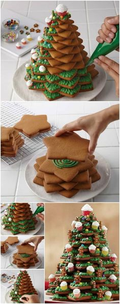 Cookie Christmas Tree Recipe With Video Tutorial You are going to love this Cookie Christmas Tree Recipe and it deserves centre stage on your holiday table. Watch the video tutorial too.How To Make An Amazing Cookie Christmas Tree christmas desserts Christmas Tree Food, Christmas Tree Cookies, Xmas Food, Christmas Sweets, Christmas Cooking, Christmas Goodies, White Christmas, Christmas Tree Biscuits, Christmas Parties
