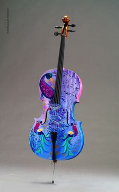 Peacock Painted on Cello