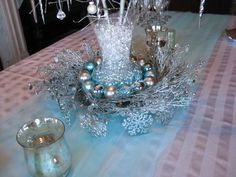 blue and white christmas table decorations - Google Search