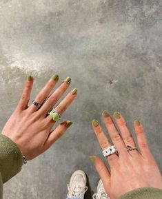 follow for more aesthetic like this🍄 Photo Dump, Girly, Engagement Rings, Nails, Jewelry, Green, Women's, Enagement Rings, Finger Nails