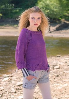 Ayame Cropped-sleeve Sweater from #130 - Akiko by  at KnittingFever.com
