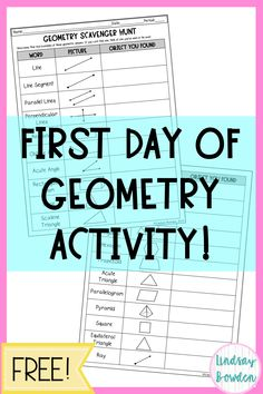 First Day of School Activity for High School Geometry! This free activity is a f… First Day of School Activity for High School Geometry! This free activity is a fun activity to get students moving and talking about geometry on the very first day! Geometry Games, Geometry Test, Geometry Activities, Geometry Lessons, Teaching Geometry, Geometry Worksheets, High School Geometry, Geometry Proofs, Geometry Vocabulary